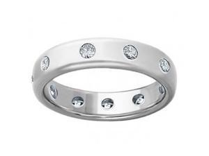 0.75 Men's Round Cut Diamond Eternity Wedding Band Ring in 14 kt White Gold