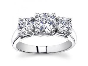 1.93 Ct Ladies Round Cut Diamond Three Stone Engagement Ring in Platinum