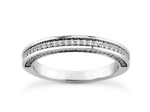 0.65 ct Ladies Round Cut Diamond Wedding Band With Diamonds on The Side in Platinum