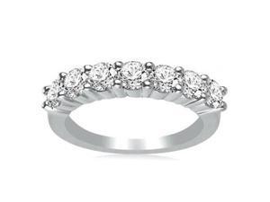 1.00 ct Ladies Round Cut Diamond Wedding Band Ring in 18 kt White Gold