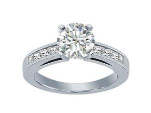 1.50 ct Ladies Round Cut Diamond Engagement Ring With Princess Cut's On the Side in 14 kt White Gold