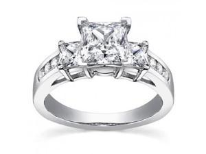 1.53 ct Ladies Princess Cut Diamond Engagement Ring in Platinum