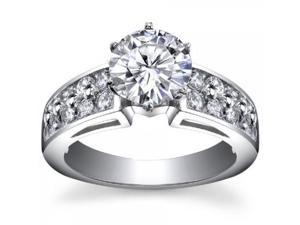 2.00 ct Ladies Two Row Round Cut Diamond Engagement Ring in 18 kt White Gold