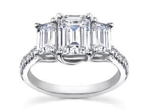 2.10 ct Ladies Emerald Cut Diamond Engagement Ring in Platinum