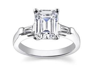 1.00 ct Ladies Emerald Cut Diamond Engagement Ring in 14 kt White Gold
