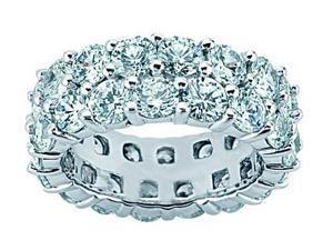 4.50 ct Two Row Diamond Eternity Wedding Band Ring  in Platinum