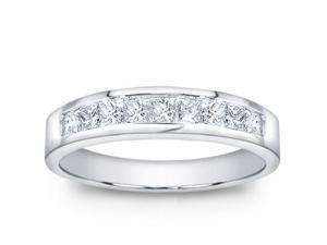 1.00 ct Men's Princess Cut Diamond Wedding Band Ring in 14 kt White Gold