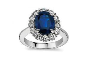 7.28 ct Oval Shape Sapphire And Diamond Engagement Ringin 14 kt White Gold