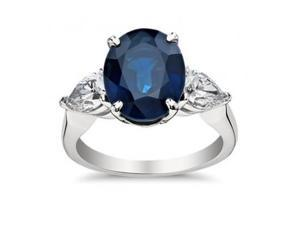 9.33 ct Oval Shape Sapphire With Pear Shape Diamond Anniversary Ring in Platinum