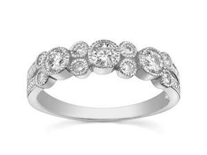 1.00 ct Ladies Round Cut Diamond Wedding Band Ring In Bezel Settingin 18 kt White Gold