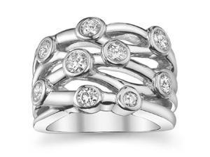 1.50 ct Ladies Round Cut Diamond Anniversary Ring In Bezel Settingin 18 kt White Gold