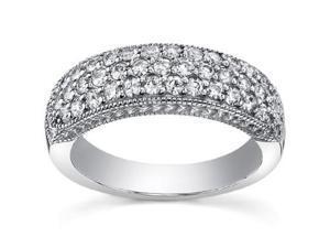 1.00 ct Pave Set Round Cut Diamond Wedding Band Ringin 18 kt White Gold