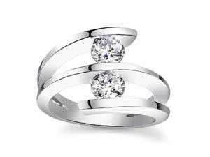 0.60 ct Two Round Cut Diamonds Anniversary Ringin 14 kt White Gold