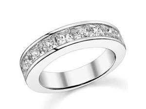 2.00 ct Princess Cut Diamond Wedding Band Ring In Chanel Settingin 14 kt White Gold