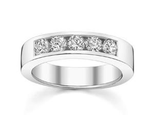 0.50 Ct Round Cut Diamond Wedding Band Ring In Channel Settingin 18 kt White Gold