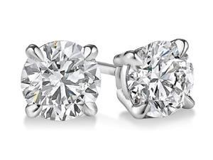Sight Holder Diamonds 2.00 CTW Genuine White Topaz Stud Earrings Set In Solid 14K White Gold