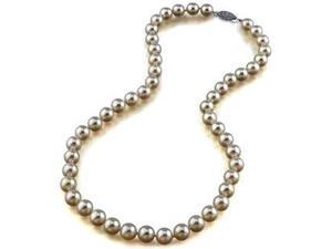 Diamond Princess Genuine 8.5-9mm White Freshwater Cultured Pearl Necklace In Sterling Silver