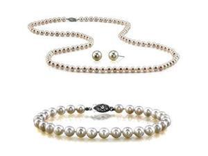 Genuine 8.5-9mm Freshwater Cultured Pearl Set In Sterling Silver