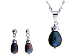 Genuine Black Freshwater Cultured Pearl Set In Sterling Silver