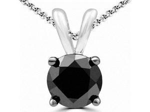 Genuine 1.75 Ct. Black Spinel Necklace in Sterling Silver