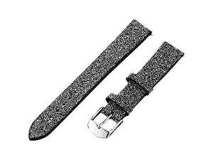 MICHELE SXM Watch Strap Black Leather & Crystals MS16AN620526