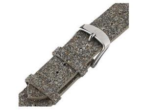 MICHELE 18mm Genuine Leather Sparkling Black Watch Strap MS18AN620132