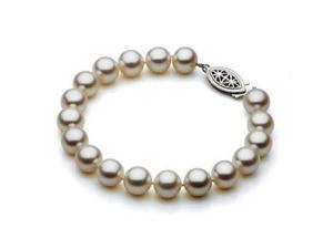 Genuine 8.5-9mm White Freshwater Cultured Pearl Bracelet In Sterling Silver