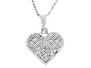 Genuine Natural 1/2 Cttw Diamond (G-H, I1-I2) Heart Pendant Necklace In Sterling Silver