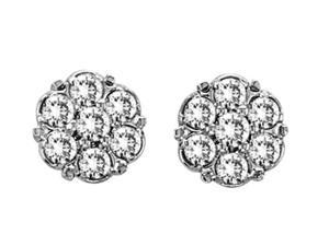 Genuine Natural 0.20 Cttw Diamond (G-H, I1-I2) Cluster Stud Earring In Sterling Silver