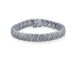 14K White Gold Plated 0.25 Cttw Double Row Diamond Bracelet