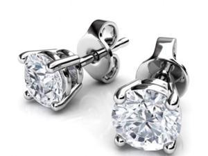Genuine 1/2 Cttw Natural Diamond (G-H, I1-I2) Earrings In 14k White Gold