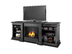 Fresno Black Entertainment Unit and Gel Fuel Fireplace