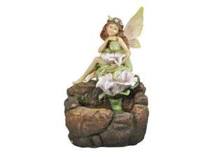 Fairy Floor Fountain with White Flowers and LED Light
