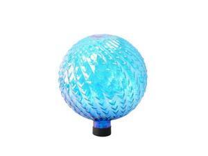 Glass 10 inch Gazing Globe with Arrow Texture - Blue