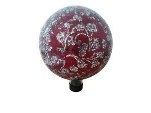 Mosaic 10 inch Glass Gazing Globe with Flower Pattern - Red