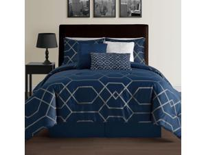 Hampton 7-Piece Modern Geometric Down Alternative Comforter Set, Full, Blue