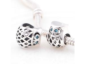 [Search Name: Cute Owl, Blue Zircon] European Antique 925 Solid Sterling S925 Bead, Fit European Bracelets Necklaces Chains, Troll