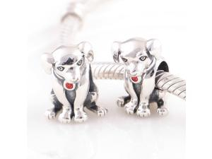 [Search Name: The Loyal Dog, Light Siam] European Antique 925 Solid Sterling S925 Bead, Fit European Bracelets Necklaces Chains, Troll