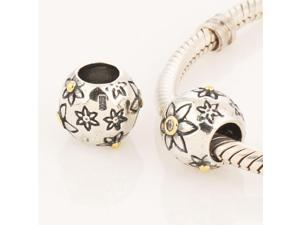 [Search Name: Light Flora, Clear] European Beads with Cz Stone, 925 Solid Sterling Charm Bead