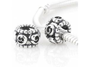 [Search Name: Swirlling] European Pando Findings/100% Sterling Charm/Threaded Charm, 925 Solid Sterling Charm Bead