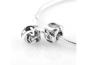 [Search Name: The world's a Stage] European Pando Findings/100% Sterling Charm/Threaded Charm, 925 Solid Sterling Charm Bead