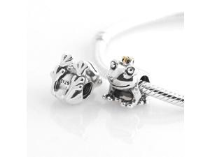 [Search Name: Frog Prince] European Pando Findings/100% Sterling Charm/Threaded Charm, 925 Solid Sterling Charm Bead