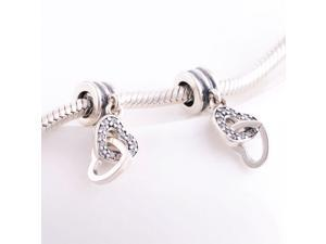 [Search Name: Interlocking Love, Clear] European Dangle, 925 Solid Sterling