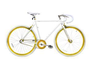 Alton Fixie 700C X 490mm Fixed Gear DP-780 Frame Road Bike - White & Gold