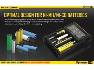 NITECORE D4 Digital Battery Charger Analyzer Tester with LCD Display for AA/AAA/C/D, 26650, 22650, 18650, 17670, 18490, 17500, 18350, 16340, RCR123, 14500, 10440 Li-ion NiMH NiCd Rechargeable Batterie