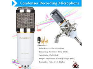 Floureon BM-800 Cardioid Condenser Microphone With Shock Mount for Studios, Recording Studios, Broadcasting Stations, Adage Performances and Computer - White