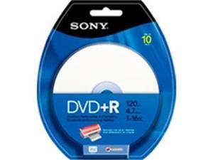 Sony 10DPR47RBP4 DVD Recordable Media - DVD+R - 16x - 4.70 GB - 10 Pack Blister Pack