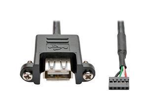 TRIPP LITE USB 2.0 Panel Mount Cable 5 Pin Motherboard IDC USB-A F/F 3' (U024-003-5P-PM)