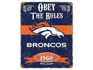 "Party Animal Broncos Vintage Metal Sign - 1 Each - Obey The Rules Print/Message - 11.5"" Width x 14.5"" Height - Rectangular Shape - Heavy Duty, Embossed Lettering, Rivet - Steel"