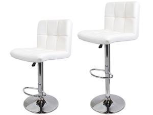 2 pcs Swivel White PU Leather Modern Adjustable Bar Stool Chair Bar-stool